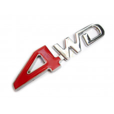 4WD Metal Badge in Red For Car or Truck 4x4